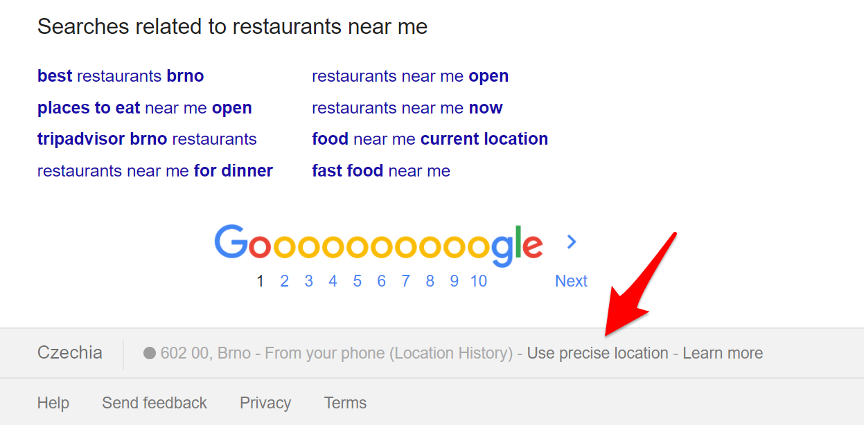 Use a precise location on Google Search