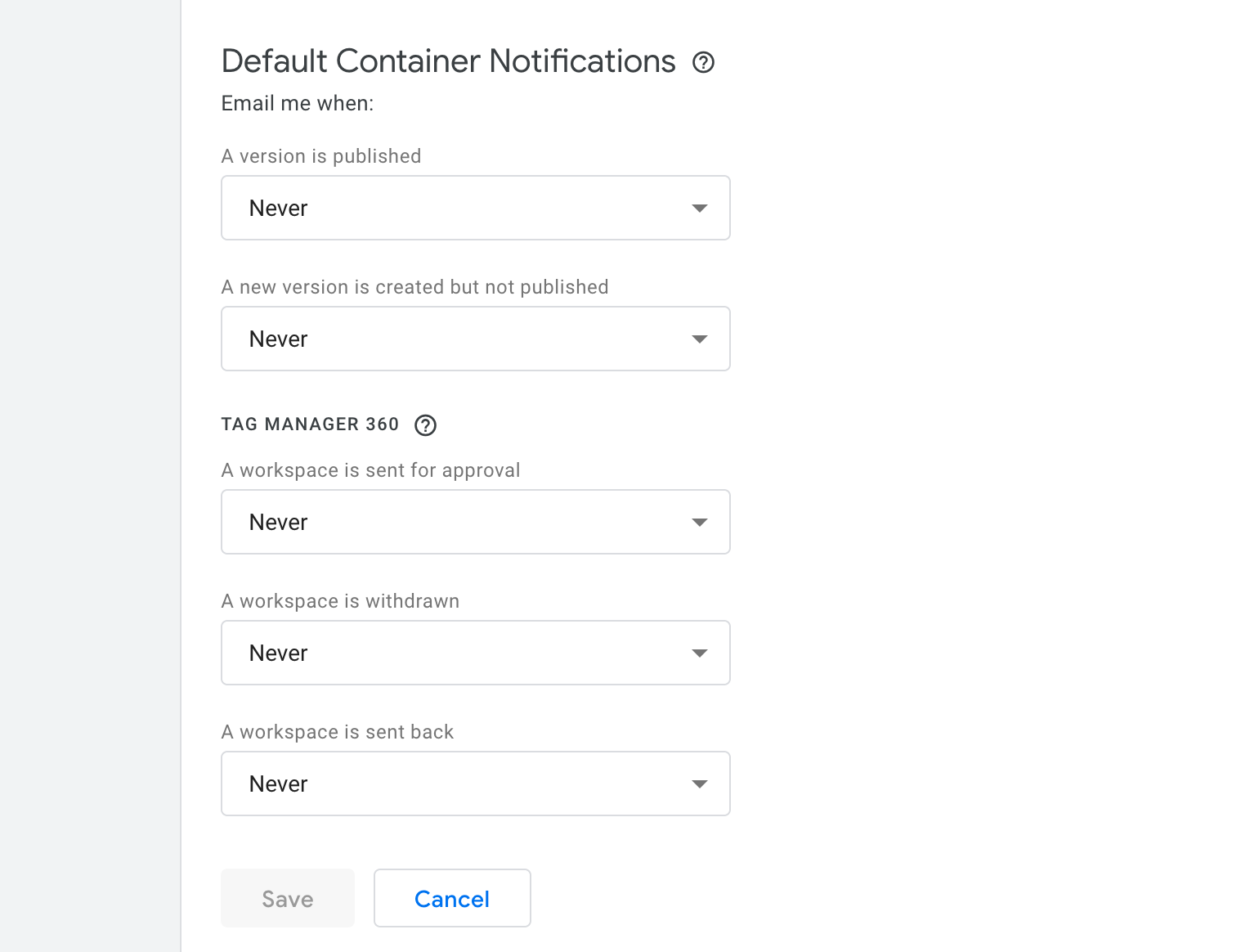 Global notification settings in GTM