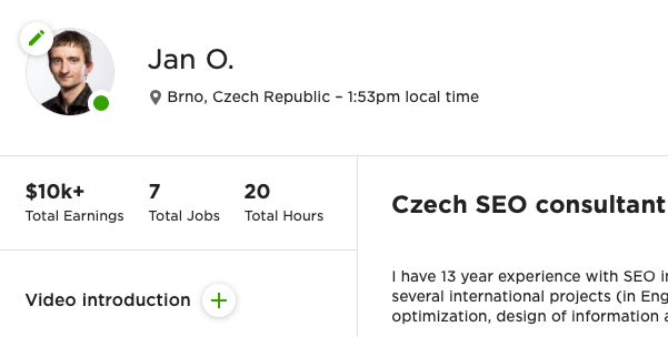 My old profile on Upwork.