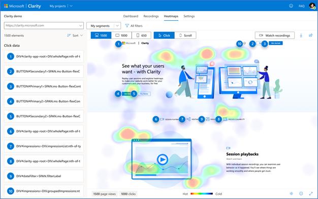Heatmaps in Microsoft Clarity