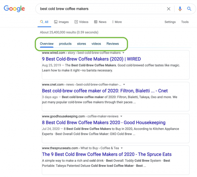 Source: https://www.seroundtable.com/google-subcategories-search-results-30443.html