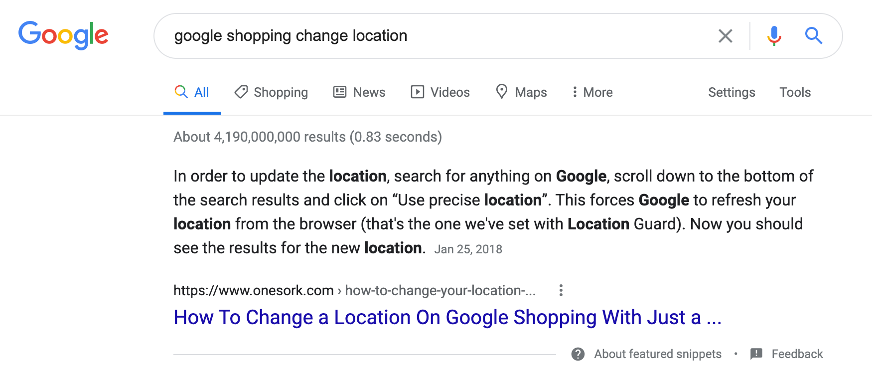 Example of a Featured Snippet in search results
