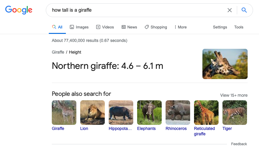 Example of a quick answer in Google's search results