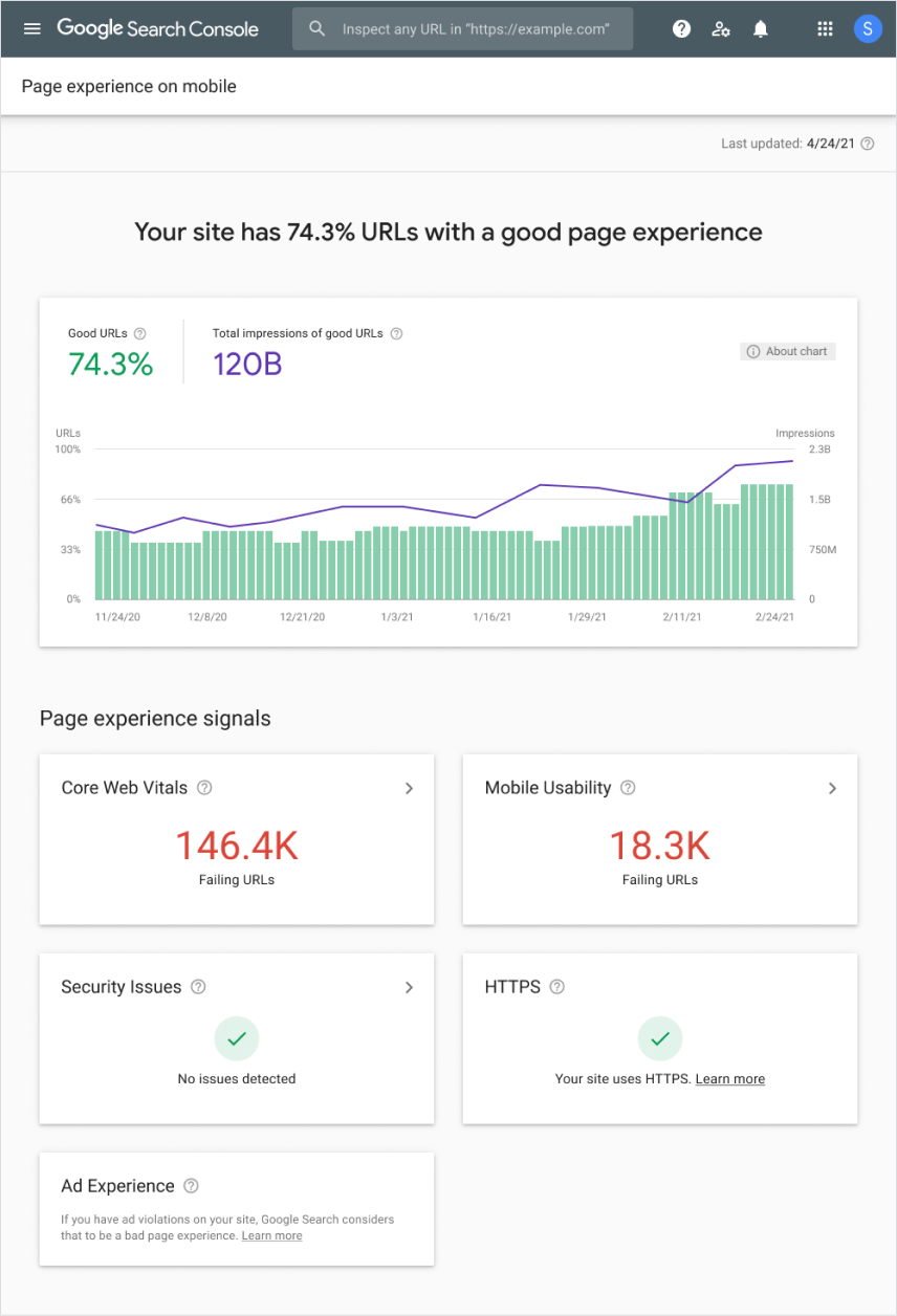 Page Experience Report in GSC - https://developers.google.com/search/blog/2021/04/more-details-page-experience